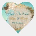 """Playa """"reserva aguamarina del boda de la fecha"""" calcomanías de corazones personalizadas"""