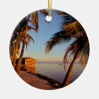 Playa Roatan Honduras Adorno Navideño Redondo De Cerámica