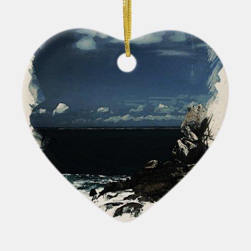 playa rocosa adorno de cerámica en forma de corazón