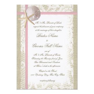 Playa romántica y boda rosado del cordón invitacion personal