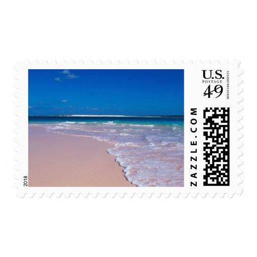 Playa rosada de la arena en la bahía de la concha, sello postal