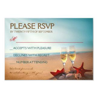 Playa RSVP que se casa romántico de la puesta del Invitación 8,9 X 12,7 Cm
