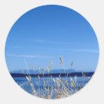 Playa salvaje pegatina redonda