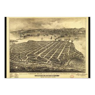 """Playa San Diego California (1880) de Coronado Invitación 5"""" X 7"""""""