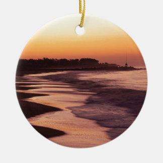 Playa Santa Cruz de Seabright de la puesta del sol Ornamentos De Navidad