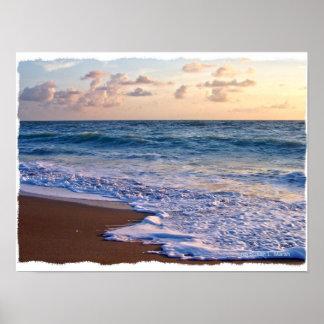 Playa saturada de la Florida en la salida del sol Póster