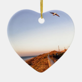Playa Seagul del halcón Adorno De Cerámica En Forma De Corazón
