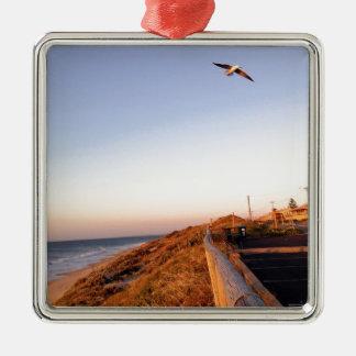 Playa Seagul del halcón Adorno Cuadrado Plateado