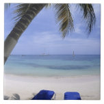 Playa, sillón, palmera, horizonte encima azulejo cuadrado grande