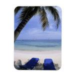 Playa, sillón, palmera, horizonte encima imán de vinilo