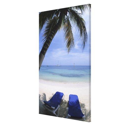 Playa, sillón, palmera, horizonte encima impresiones en lona