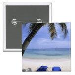 Playa, sillón, palmera, horizonte encima pin cuadrado