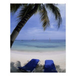 Playa, sillón, palmera, horizonte encima póster
