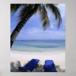 Playa, sillón, palmera, horizonte encima posters