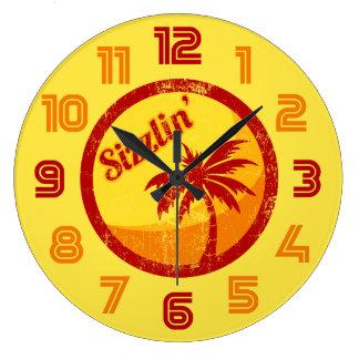 Playa Sizzlin del vintage Reloj Redondo Grande
