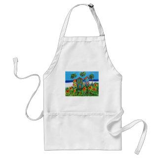 Playa soleada de la flor delantales