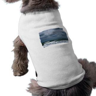 Playa tempestuosa con el texto de la imagen de las playera sin mangas para perro
