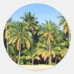 Playa tropical abandonada de la isla pegatinas redondas