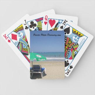Playa tropical blanca océano azul tarjetas que j baraja cartas de poker