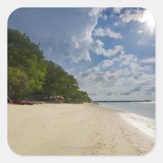 Playa tropical con salida del sol pegatina cuadradas personalizada