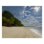 Playa tropical con salida del sol poster