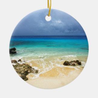 Playa tropical de la isla del paraíso ornaments para arbol de navidad