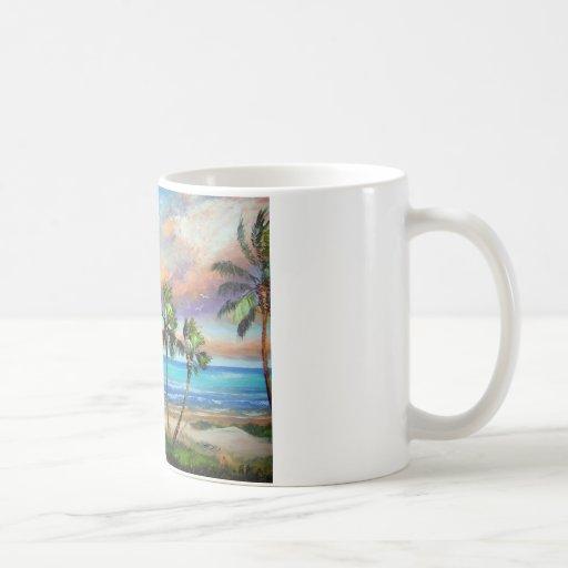 Playa tropical de la isla taza de café