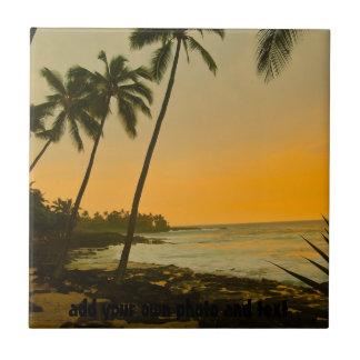 Playa tropical de la palmera azulejos cerámicos