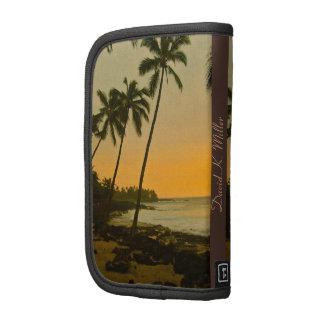 Playa tropical de la palmera con la personalizació planificador