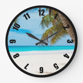 Playa tropical de la turquesa reloj redondo grande