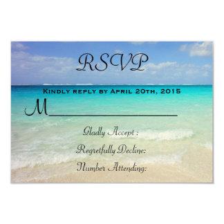 """Playa tropical del Caribe azul azul RSVP Invitación 3.5"""" X 5"""""""