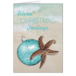 Playa tropical del ornamento de las estrellas de tarjeta de felicitación