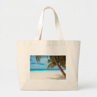 Playa tropical del paraíso bolsa tela grande