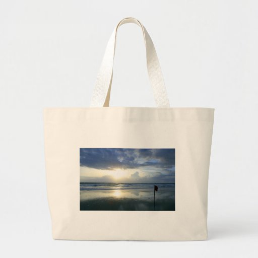 Playa tropical del paraíso de la puesta del sol de bolsa tela grande