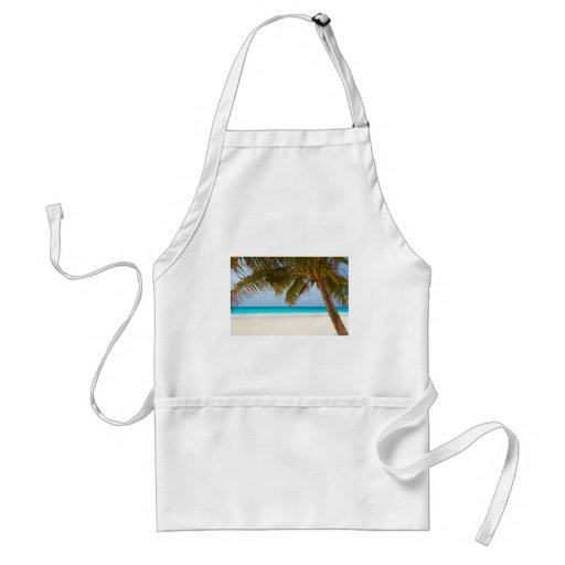 Playa tropical del paraíso delantales