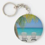 Playa tropical del paraíso en el Caribe Llaveros Personalizados