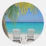 Playa tropical del paraíso en el Caribe Pegatinas Redondas