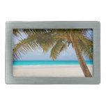 Playa tropical del paraíso hebillas de cinturon rectangulares