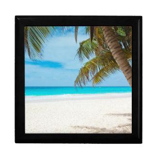 Playa tropical del paraíso caja de recuerdo