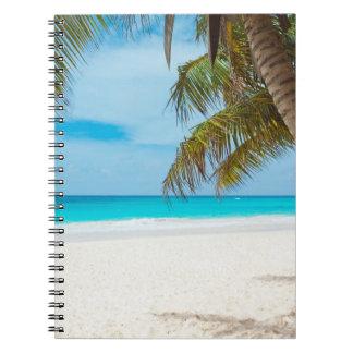 Playa tropical del paraíso libretas espirales