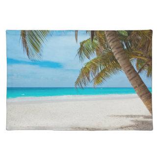 Playa tropical del paraíso manteles individuales