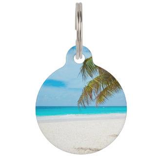 Playa tropical del paraíso placa de mascota