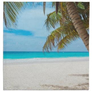 Playa tropical del paraíso servilleta imprimida