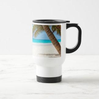 Playa tropical del paraíso taza de viaje de acero inoxidable