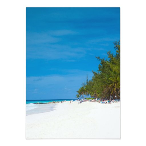Playa tropical en Barbados Invitación 12,7 X 17,8 Cm