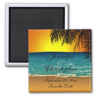 Playa tropical en la reserva del boda de la puesta imán de nevera