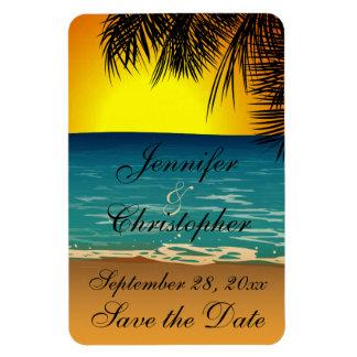 Playa tropical en la reserva del boda de la puesta imán rectangular