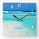 Playa tropical en Maldivas Reloj De Pared