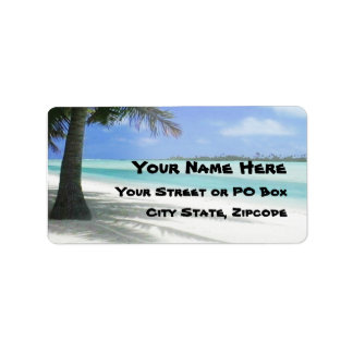 Playa tropical etiqueta de dirección