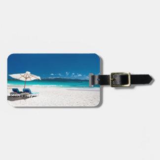 Playa tropical etiquetas de equipaje